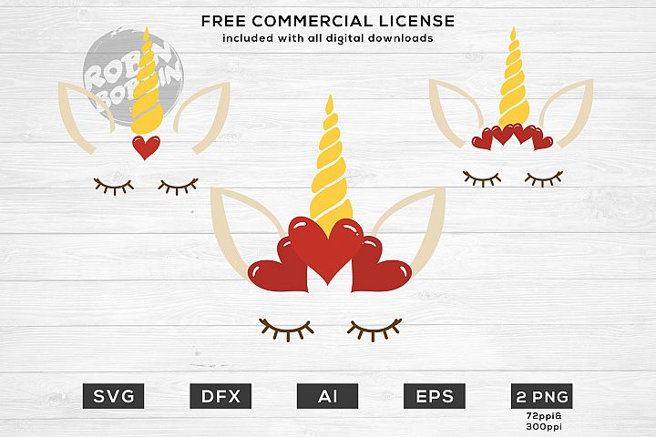 Valentines Unicorn - Monogram SVG Files