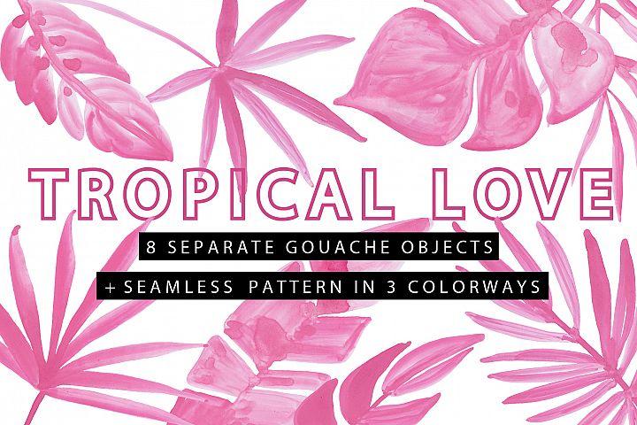 TROPICAL LOVE - Gouache Clipart Pack