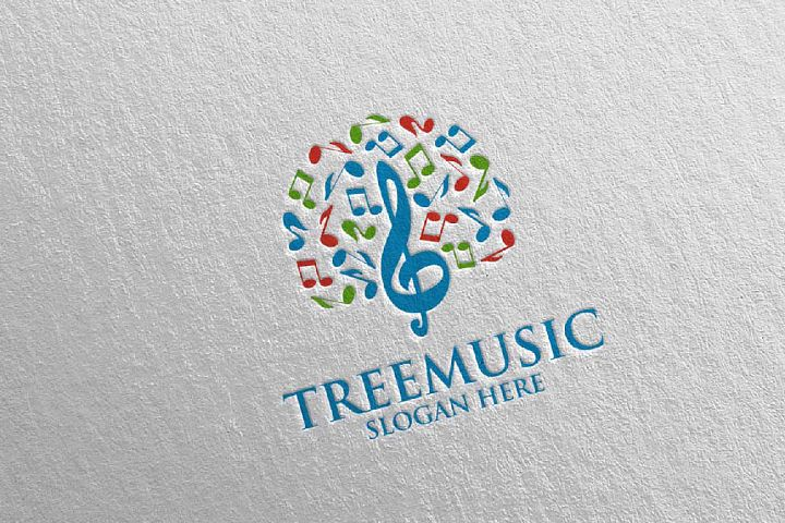 Tree Music Logo with Note and Tree Concept 51
