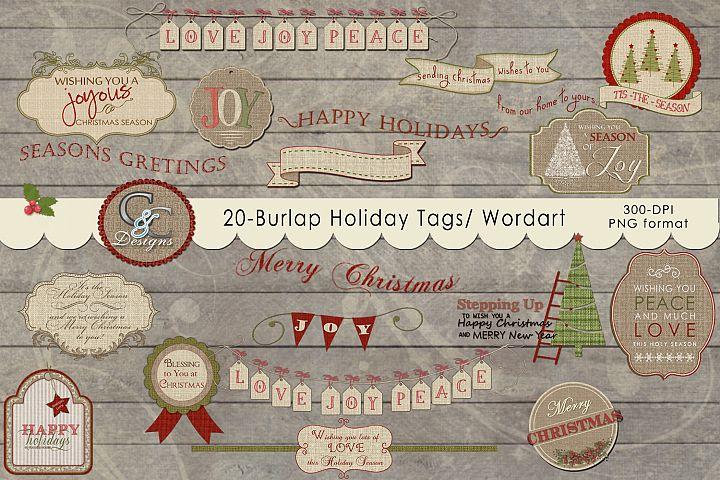 20 Burlap Holiday Tags- Elements/ Wordart/ Clipart