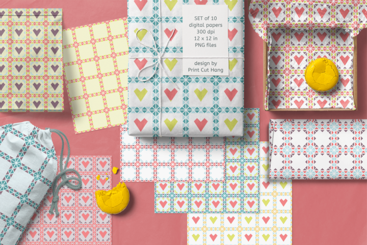 Checkered Digital Collage Sheets Geometric Hearts Triangles