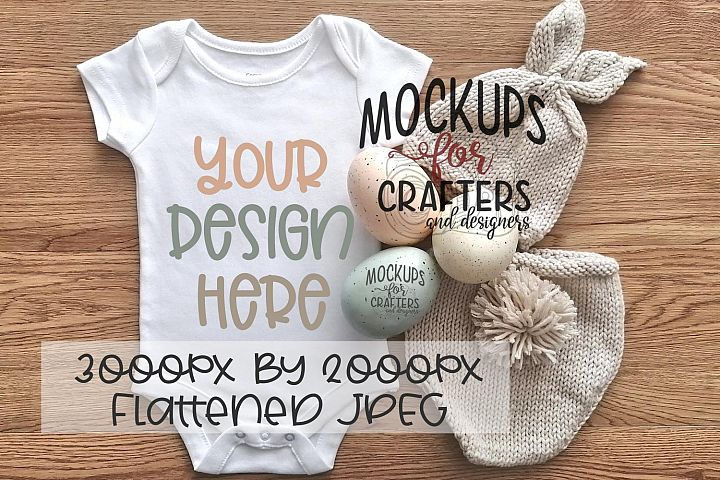 Baby Bodysuit Mock-Up, Easter theme