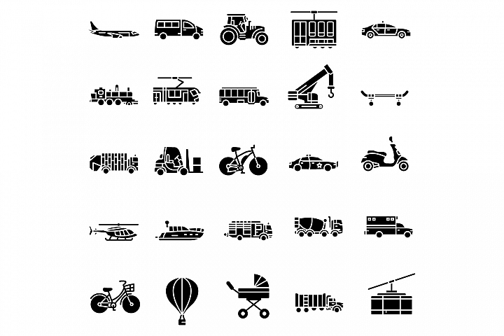 Transportation solid icons set