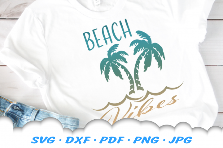 Beach Vibes Palm Trees Waves SVG DXF Cut Files