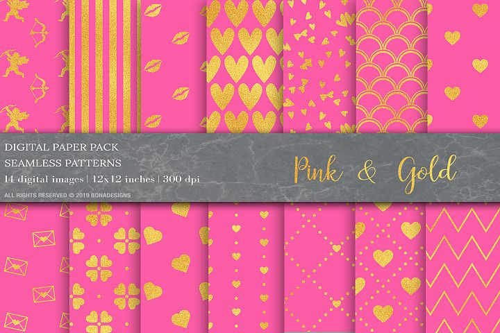 Pink Gold Geometric Digital Papers, Valentine Days Patterns