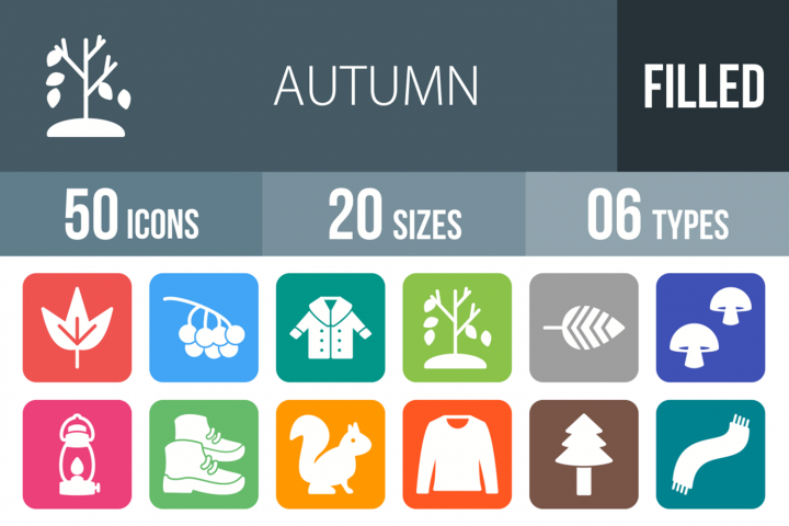 50 Autumn Filled Round Icons