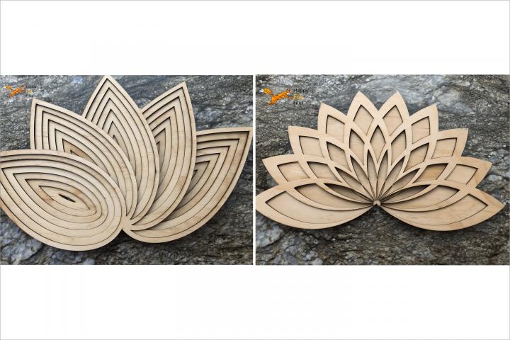 Set of Multilayer Mandala Lotus Files for CNC Laser