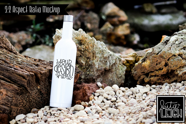 Stainless Steel White Wine Bottle Beach Lake Mockup