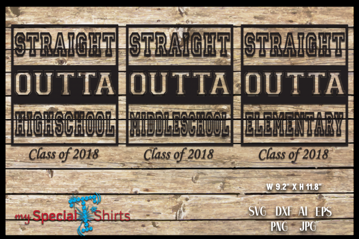 Straight Outta PACKAGE Class of 2018 Graduation SVG, DFX, EPS, JPG, PNG