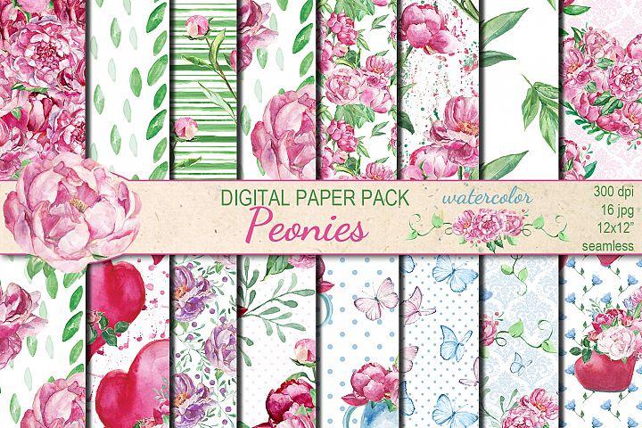 Watercolor Pink Peonies seamless digital paper pack