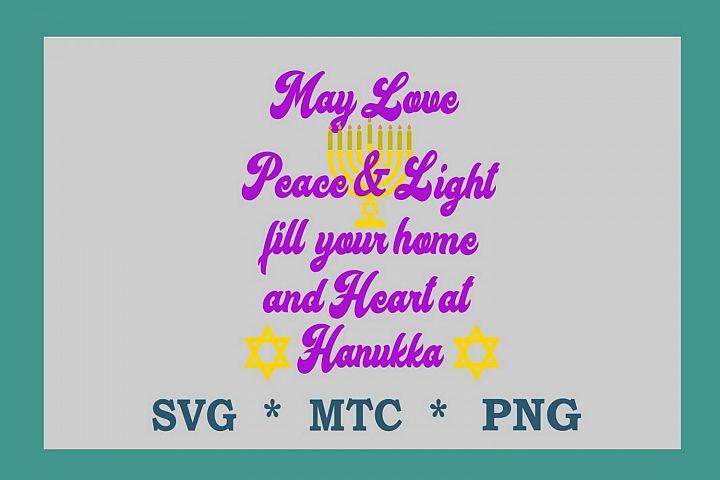 SVG Hanukkah Peace & Light Saying Design #03 Cut File
