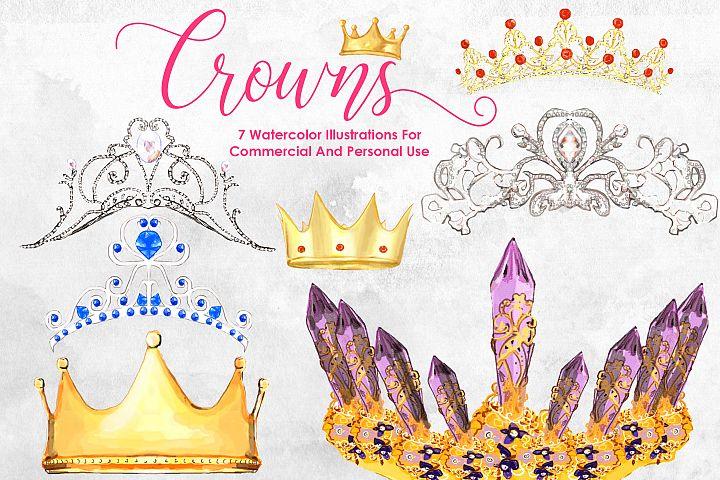 Watercolor Crowns Bundle Queen Princess Watercolor Flowers