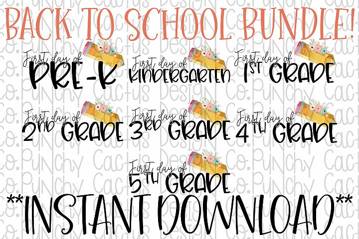 First Day Bundle Sublimation Download, School