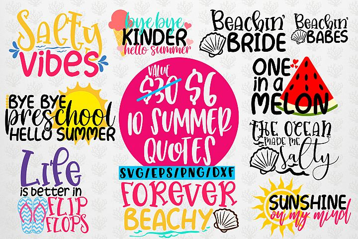 Summer & Beach Svg Bundles - 10 Svg EPS DXF PNG Cut File