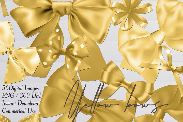 56 Yellow Satin Bows and Ribbons Card Making Digital Images