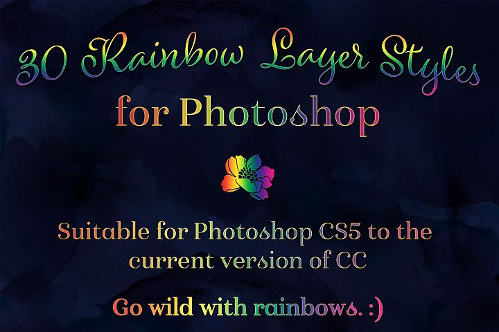 Rainbow Layer Styles - Set of 30 Styles for Photoshop