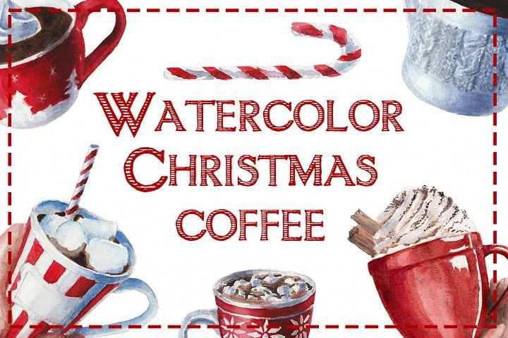 Watercolor Christmas coffee
