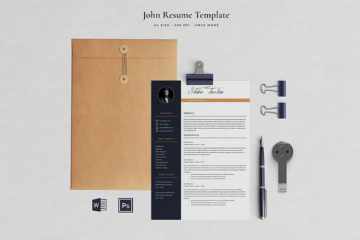 John Resume with Cover Letter Professional Template