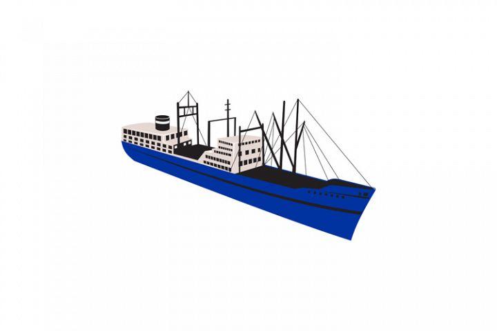 Vintage Cargo Ship Retro