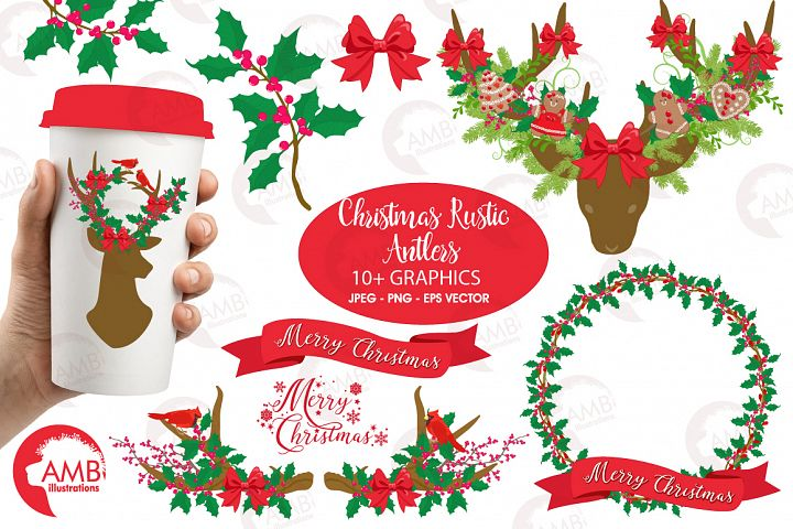 Christmas Rustic Antlers clipart, graphics and illustratins AMB-1506