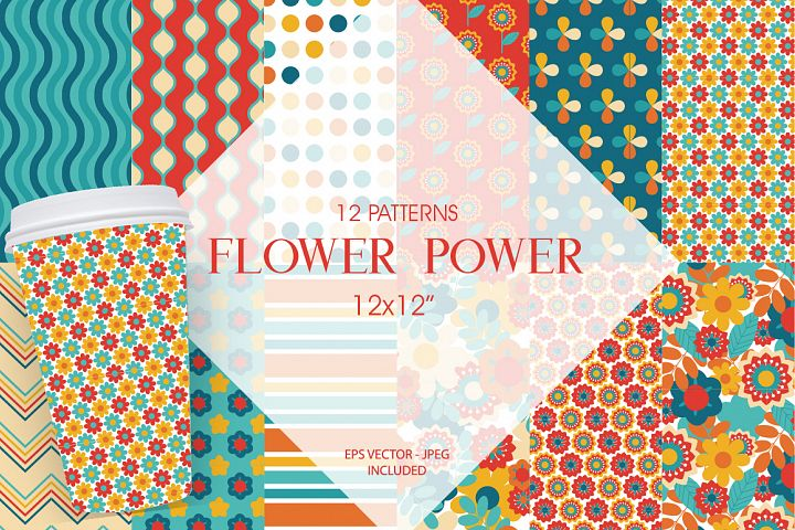 Flower power Pattern collection, vector ai, eps and