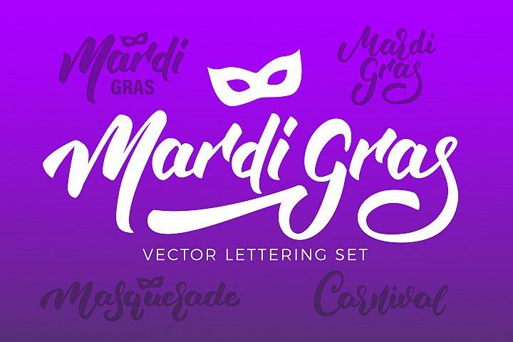 Mardi Gras Vector Lettering Set