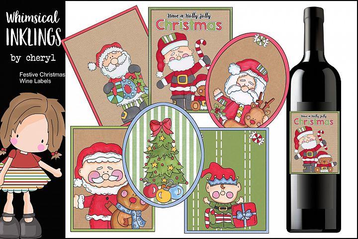 Festive Christmas Wine Labels