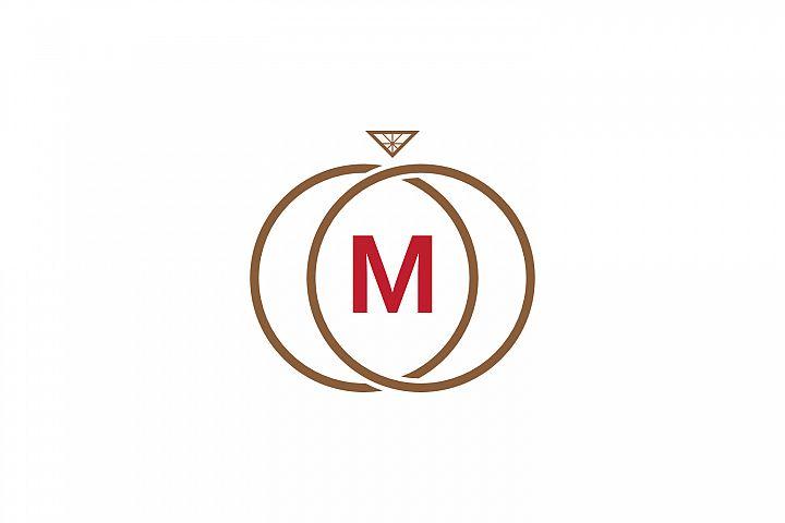 m letter ring diamond logo