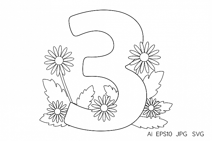 Numeral, number Three. Flowers. Coloring page.