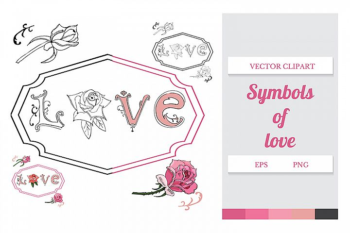Hand drawn set of letters, roses and frame. Vector.