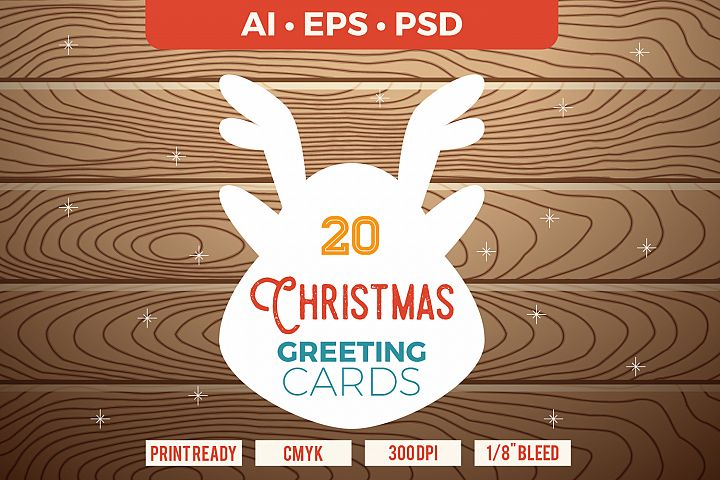 20 Christmas & New Year Cards Template AI, PS