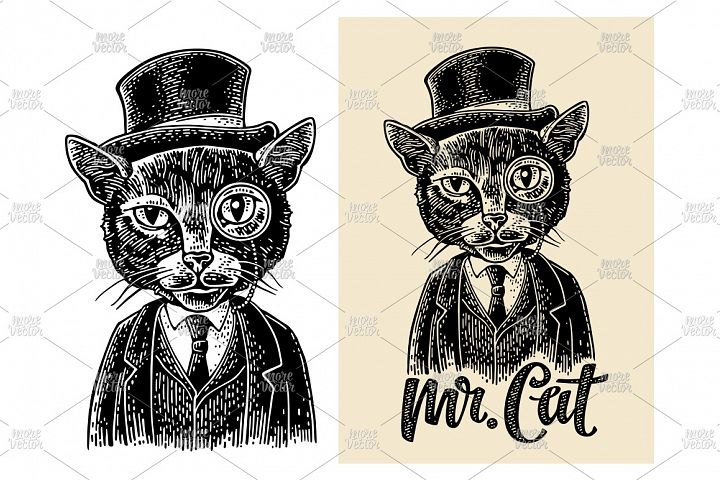 Cat gentleman holding watch dressed in waistcoat engraving