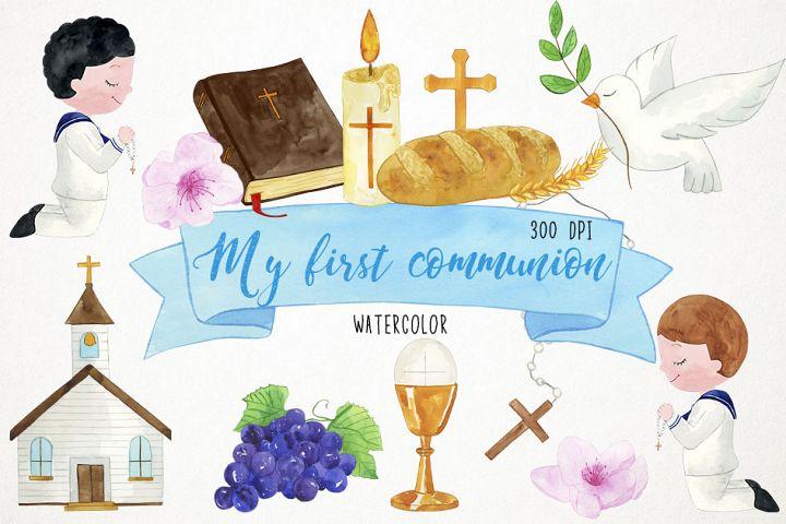 Watercolor 1st Communion Clipart, 1st Communion Clip Art