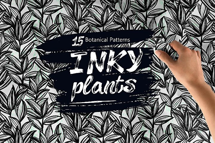 Inky Plants 15 Botanical Patterns