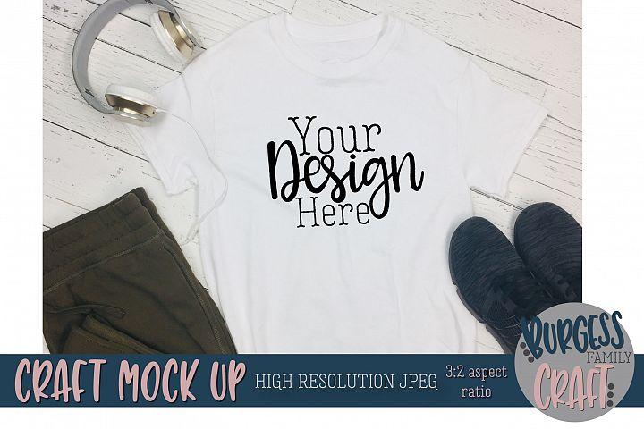 Mens white t-shirt Craft mock up |High Resolution JPEG