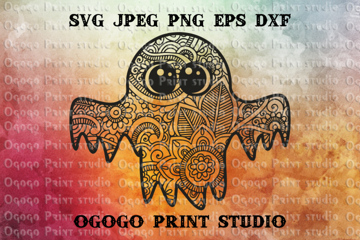 Ghost Svg, Zentangle svg, Halloween svg, Boho svg, Mandala
