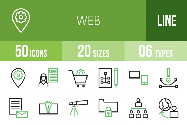 50 Web Line Green & Black Icons