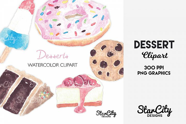 Watercolor Dessert Clipart, Chocolate Cake, Cherry Cheesecak