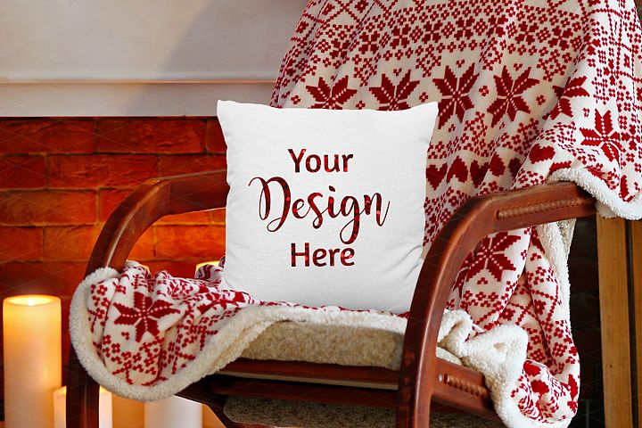 Square Christmas Pillow Mockup on Farmhouse Rocking Chair
