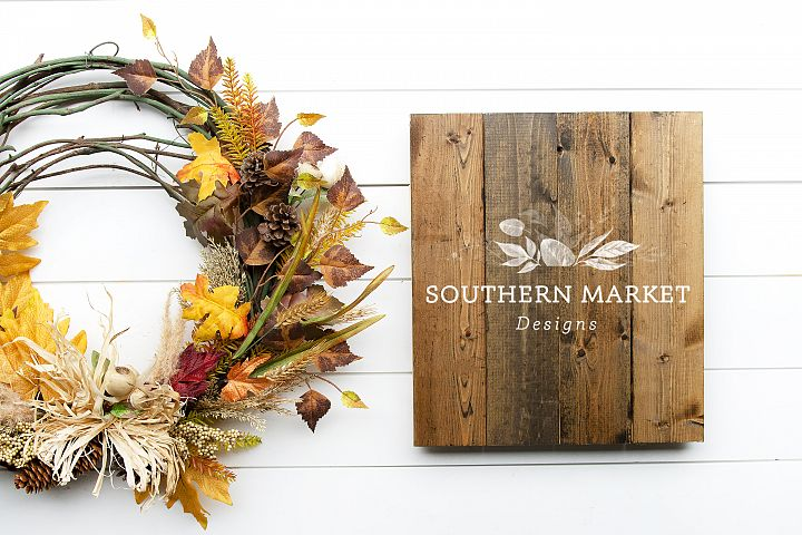 Fall Stained Pallet Wood Sign Mock Up Stock Photo