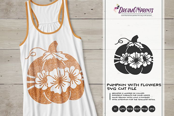 Pumpkin with Flowers SVG   Thanksgiving   Fall SVG
