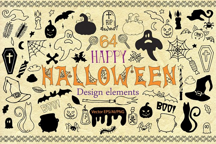 Halloween Doodle Vector clipart - Free Design of The Week Design 1