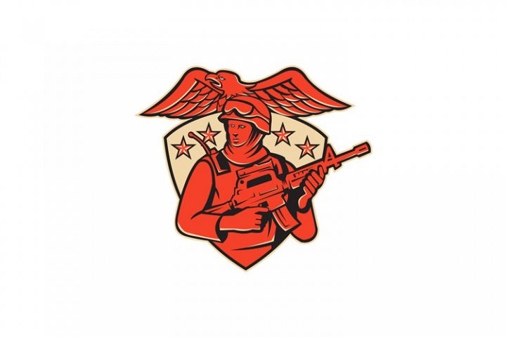 soldier swat policeman rifle eagle shield