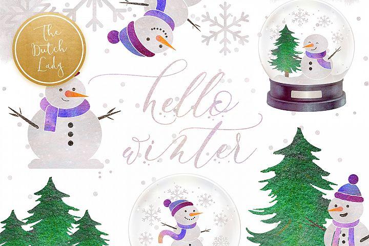 Snowman & Snowglobe Clipart Set