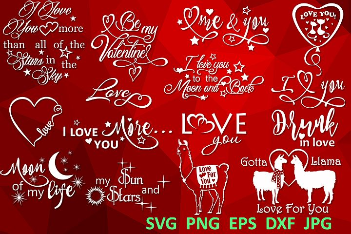 15 Love saying svg Love bundle svg Valentine svg