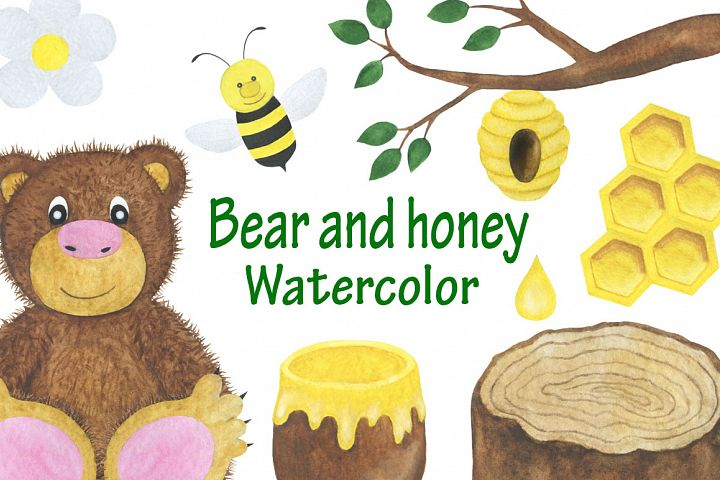 Set bear and honey watercolor childrens illustration