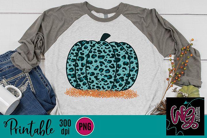 Teal Leopard Pumpkin Crackled Sublimation Printable