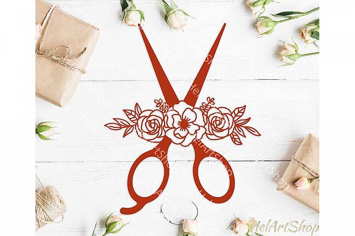 Floral scissors svg, sewing svg