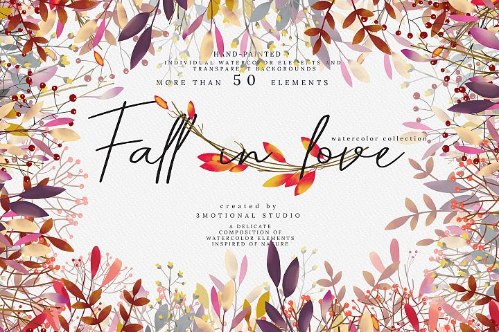 Fall in love watercolor collection high res png