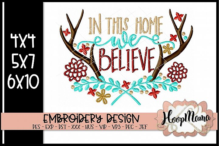 In This Home We Believe - Christmas Embroidery